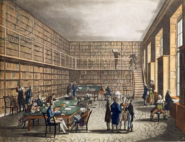 The Library at The Royal Institution, Albemarle Street, engraved by Joseph Constantine (fl.1780-1812) Stadler, 1809 (engraving)