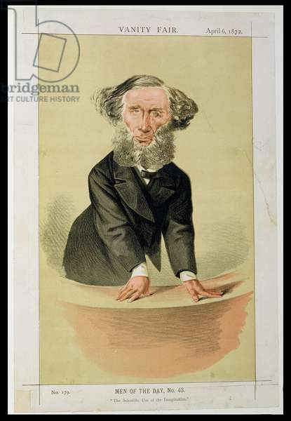 """Men of the Day, No.43 """"The Scientific Use of the Imagination,"""" cartoon of John Tyndall giving a lecture, 1872 (colour litho)"""