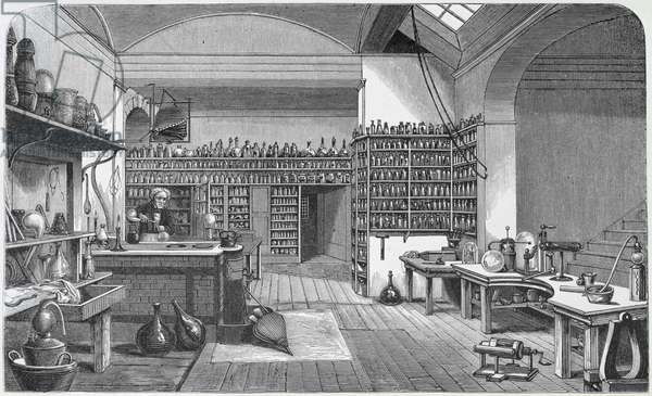 Michael Faraday (1791-1867) in his basement laboratory, from Henry Bence Jones's 'The Life and Letters of Faraday', published 1870, 1869 (engraving)