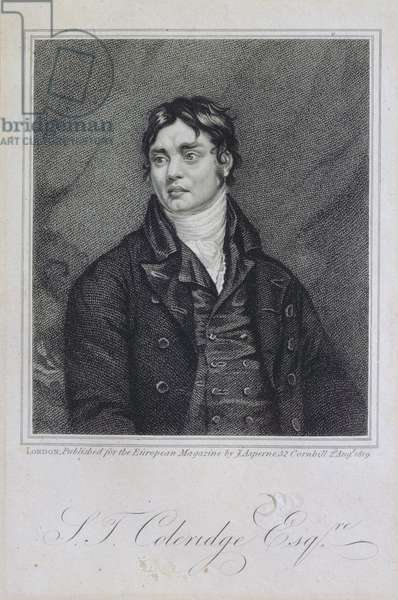 Portrait of Samuel Taylor Coleridge (1772-1834) published in 1819 (engraving)