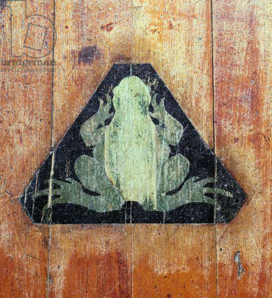 Frog, marking the site of Faraday's Froggery, Dorian Workshop, early 1930s (inlaid wood)