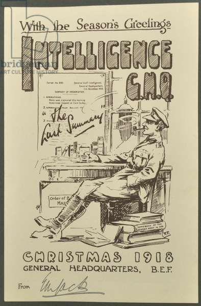 With the Season's Greetings, Intelligence G.H.Q., Christmas 1918  from E. M. Jack, 1918 (litho)