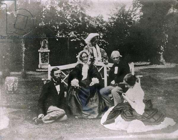 Michael Faraday (1791-1867) with his Niece Jane and John Tyndall (1820-93) 1858 (b/w photo)