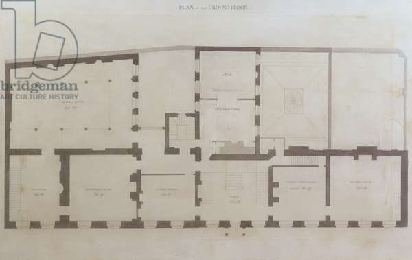 Plans of the ground floor of 21 Albemarle Street after the initial alterations to the house after its acquisition by the Royal Institution, c.1800 (pencil and w/c on paper)