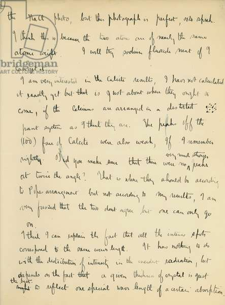 Letter from Lawrence to William Bragg, including analysis of his latest x-ray photographs of crystals of potassium chloride, leading towards the development of his equation, c.1912 (pen & ink on paper)