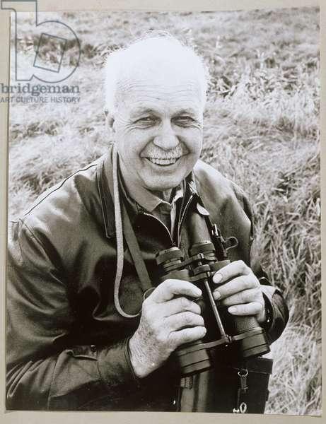 Sir William Lawrence Bragg (1890-1971) in Suffolk (b/w photo)