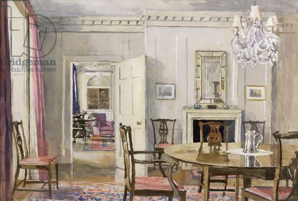 View towards the north wall of the dining room in the Director's Flat, Royal Institution, 1955 (w/c on paper)