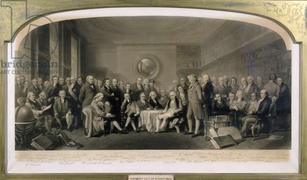 Eminent Men of Science, 1807-08, Assembled in the Library of the Royal Institution, 4th June 1862 (etching)