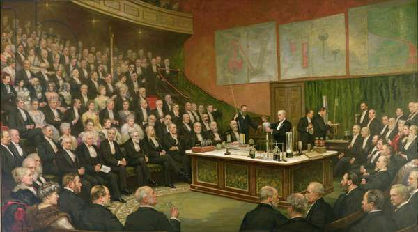 A Friday Evening Discourse at the Royal Institution; Sir James Dewar on Liquid Hydrogen, 1904 (oil on canvas)