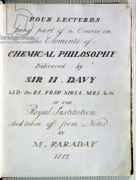Frontispiece to 'Four Lectures on the Elements of Chemical Philosophy' by Sir H.Davy (1778-1829) at the Royal Institution, Taken from Notes by Michael Faraday (1791-1867) 1812 (engraving)
