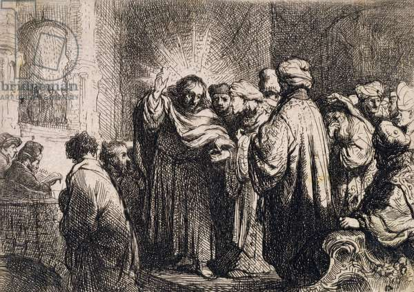 Christ with the Elders, from Michael Faraday's scrapbook (engraving)