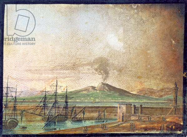 Vesuvius smoking, from Michael Faraday's scrapbook (gouache on paper)