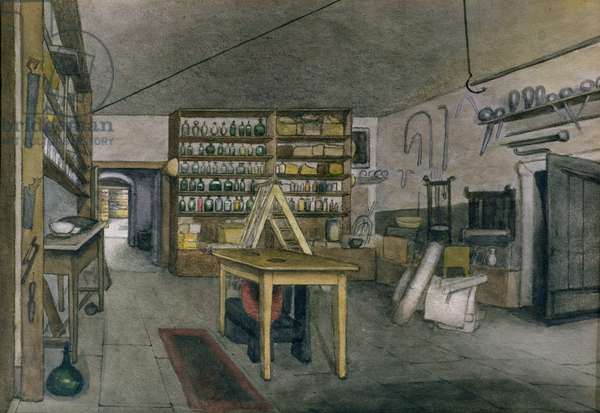Faraday's Magnetic Laboratory, 1852 (w/c on paper)