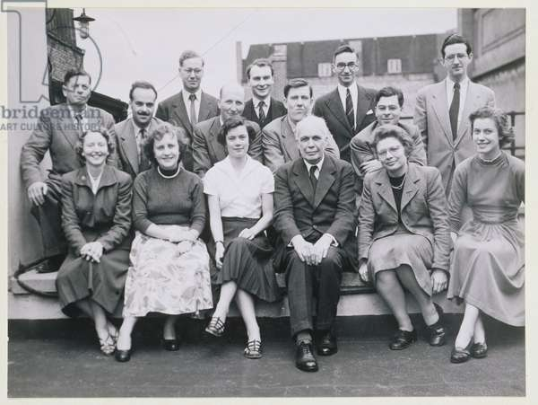 William Lawrence Bragg (1890-1971) and the Royal Institution Staff, 1954 (b/w photo)