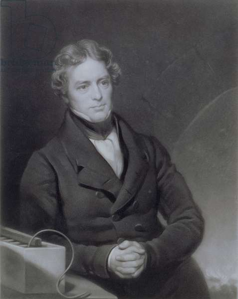 Portrait of Michael Faraday (1791-1867) engraved by Henry Cousins (d.1864) c.1841 (engraving)