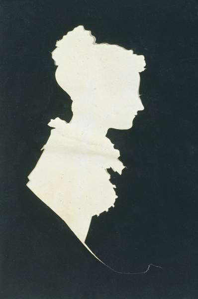 Silhouette of Sarah Faraday (1800-79) from Michael Faraday's scrapbook, 1821 (ink on paper)