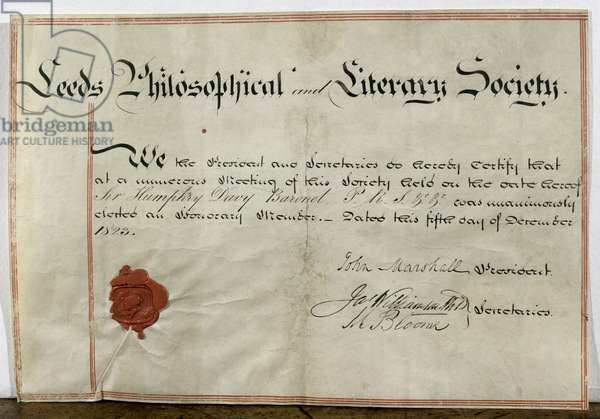 Certificate of honorary membership for Sir Humphry Davy (1778-1829) to the Leeds Philosophical and Literary Society, 5th December 1823