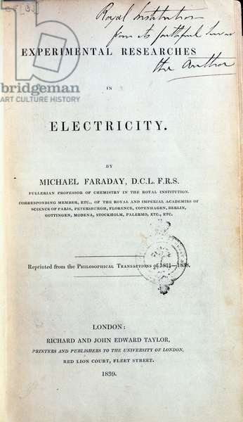 Frontispiece for 'Experimental Researches in Electricity' by Michael Faraday (1791-1867) published 1839 (litho)