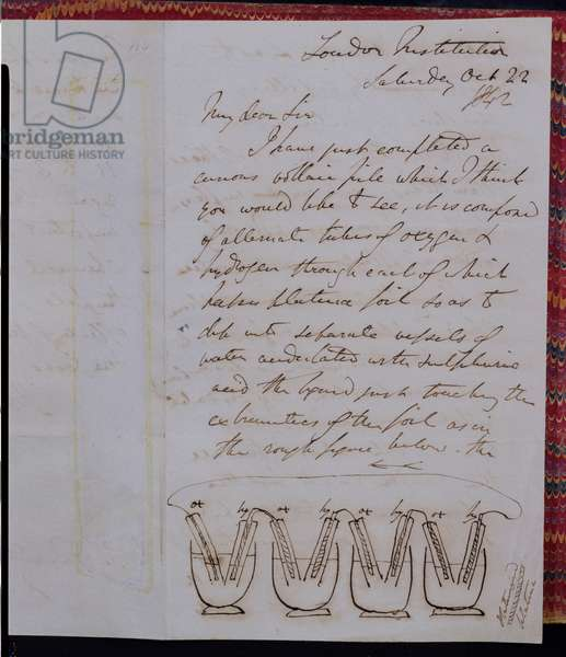 RI MS F1I f.104 Letter from Sir William Grove to Michael Faraday describing and illustrating the first fuel cell for producing electricity, 22 October 1842 (ink on paper) (see also 113897)