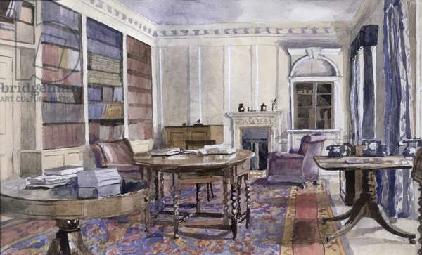 View of the north wall of the study in the Director's Flat, Royal Institution, 1955 (w/c on paper)