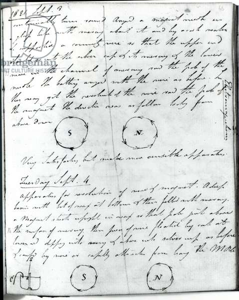 Page 75 from Faraday's notebook, on the 'Rotation of Current Experiment', 3rd September 1821 (pen & ink on paper)