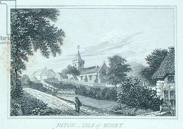 Niton Church, Isle of Wight, from Michael Faraday's scrapbook (engraving)