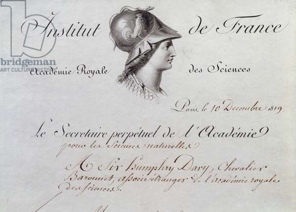 Sir Humphry Davy's (1778-1829) Certificate of Membership to the Institut de France, 10th December 1819