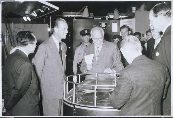 Sir William Lawrence Bragg (1890-1971) and the Duke of Edinburgh (b.1921) 1958 (b/w photo)