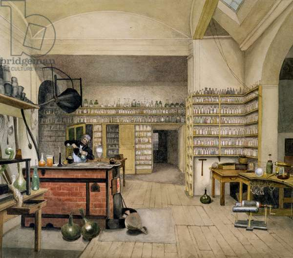 Michael Faraday (1791-1867) in his Basement Laboratory, 1852 (w/c on paper)