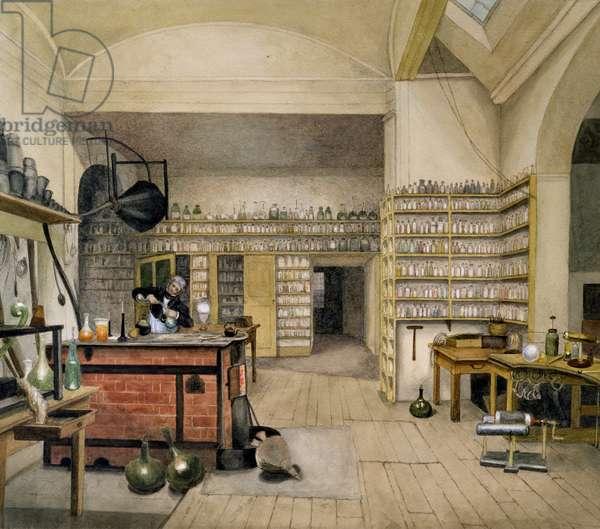 Michael Faraday (1791-1867) in his Basement Laboratory, 1852 (w/c on paper)