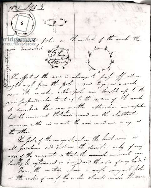 Page 74 from Faraday's notebook, on the 'Rotation of Current Experiment', 3rd September 1821 (pen & ink on paper)