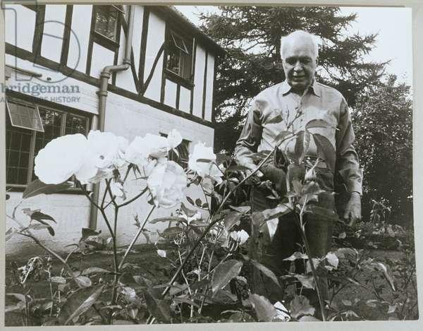 William Lawrence Bragg (1890-1971) in his garden (b/w photo)
