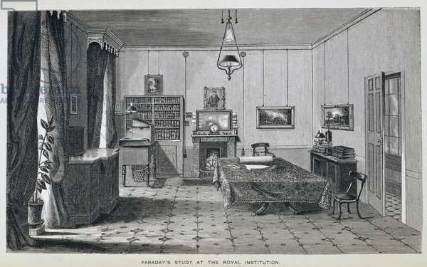 Michael Faraday's Study on the second floor at The Royal Institution, from Henry Bence Jones's 'The Life and Letters of Faraday', published 1870, 1869 (engraving) (see 137594)
