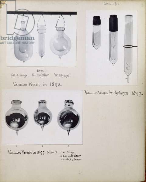 DE1613/12 Various vacuum vessels for storage, projection and for hydrogen, 1893-99 (b&w photo)