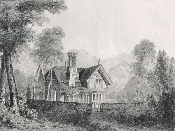 A cottage in a landscape, from Michael Faraday's scrapbook, 1825 (litho)