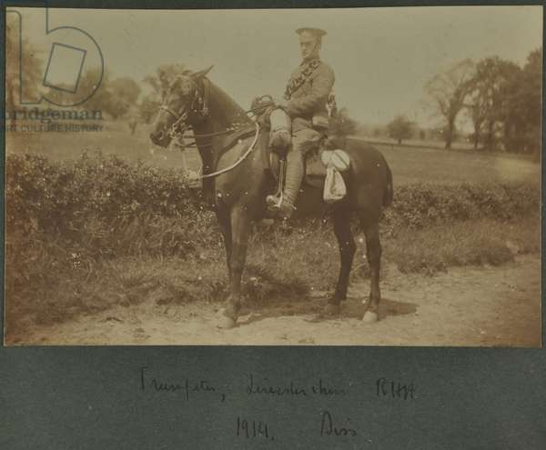 Trumpeter of the Leicestershire Royal Horse Artillery at a training camp at Diss, 1914 (b/w photo)