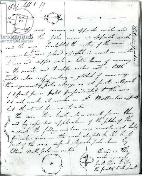 Page 73 from Faraday's notebook, on the 'Rotation of Current Experiment', 3rd September 1821 (pen & ink on paper)