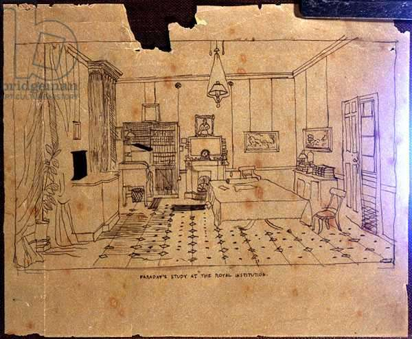 Michael Faraday's (1973-1867) study at The Royal Institution, 1850-55  (pen and ink on paper)