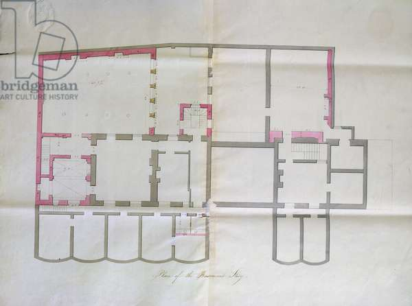 Contract drawing for the basement of the Royal Institution, 1800 (pencil & w/c on paper)