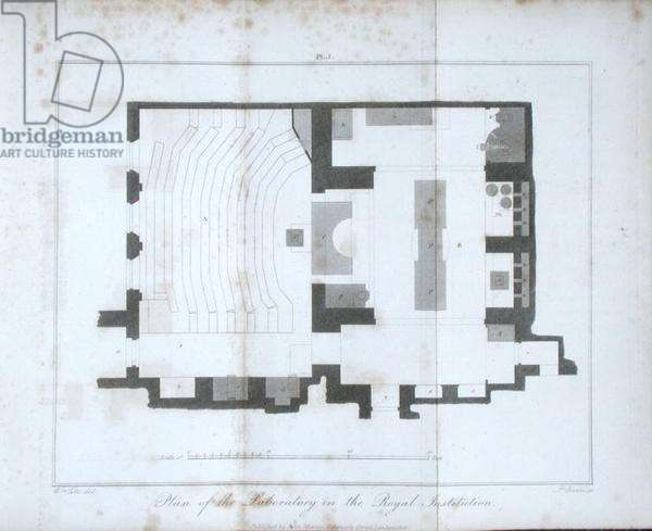Plan of the laboratory of the Royal Institution, with the basement lecture theatre on the left, from 'A Manual of Chemistry' by W.T. Brande, published 1819