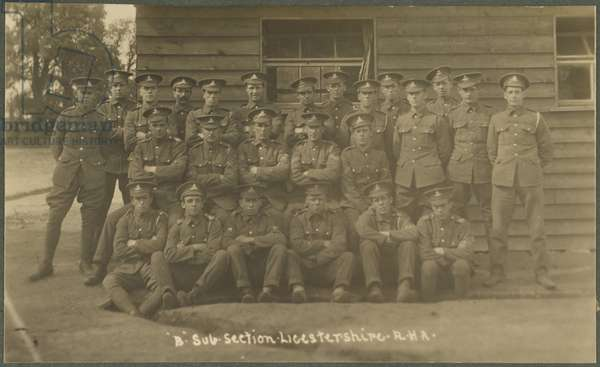 'B' Sub-section, Leicestershire Royal Horse Artillery, at training camp at Diss, 1914-18 (b/w photo)