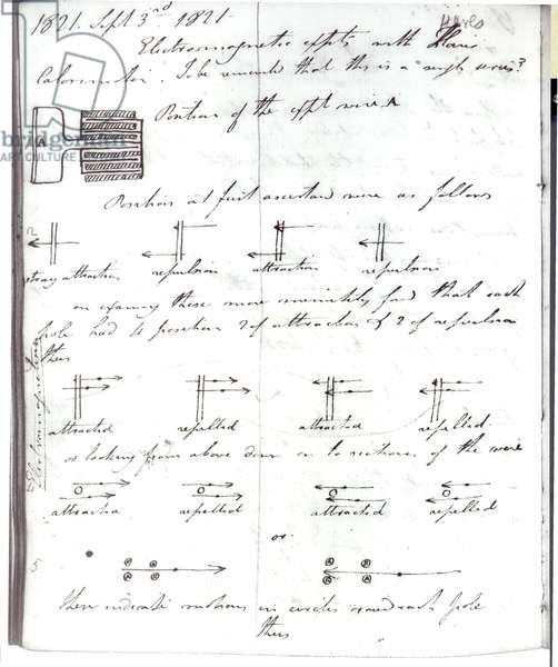 Page 72 from Faraday's notebook, on the 'Rotation of Current Experiment', 3rd September 1821 (pen & ink on paper)