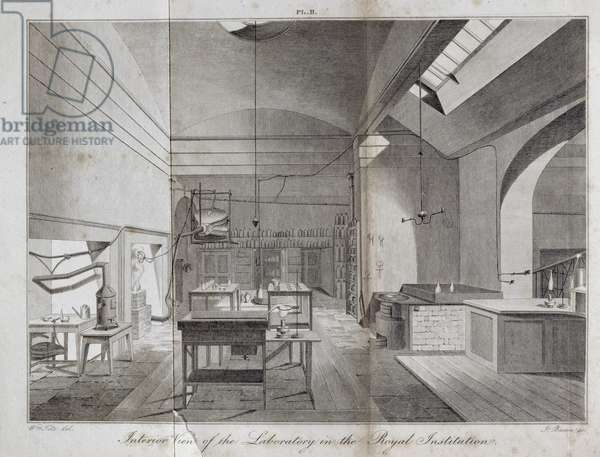 Interior View of the Laboratory in The Royal Institution, engraved by James Basire (1796-1869) from William Thomas Brande's 'A Manual of Chemistry', published 1819, 1819 (engraving)