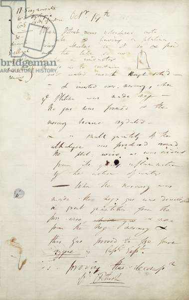 Potassium: Sir Humphrey Davy's notes of his experiment which led to the discovery of potassium, 1807