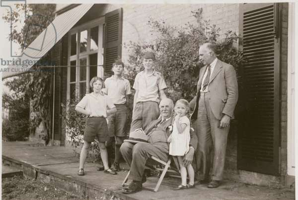 William Lawrence Bragg (1890-1971) William Henry Bragg (1862-1942) and Family at West Road, 1939 (b/w photo)
