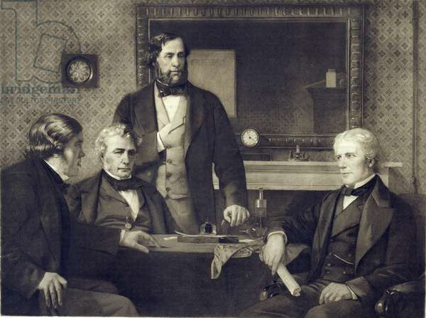 Michael Faraday (1791-1867) declining the Presidency of the Royal Society in 1858, after a painting by Edward A. Armitage (1817-96) (photogravure)