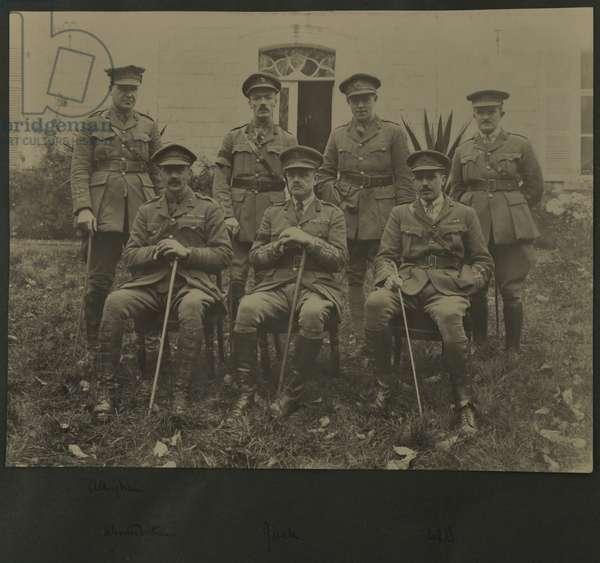 Group portrait of seven men in military uniform, 1914-18 (b/w photo)