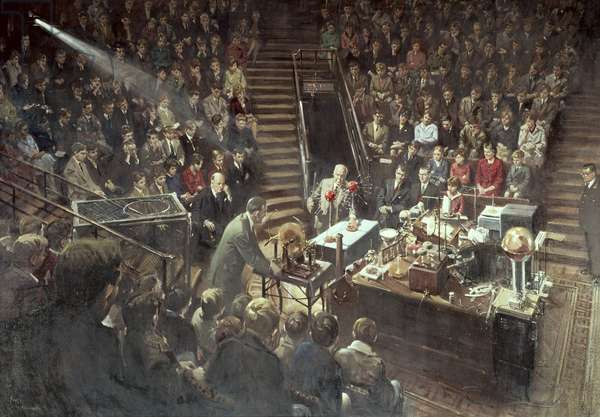 Sir Lawrence Bragg (1890-1971) giving the Christmas Lecture at the Royal Institution in 1961 (oil on canvas)