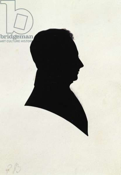 Silhouette of EB, from Michael Faraday's scrapbook (ink on paper)