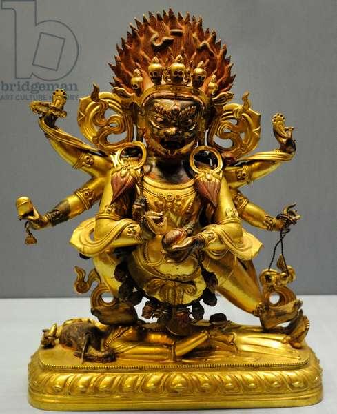 Dharmapala Mahakala. Inner Mongolia. 19th century. Statue. Brass; hammering, casting, partial gilding, engraving.